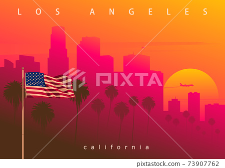Los Angeles evening skyline, California, USA.  73907762