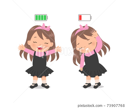 Cute girl happy vs tired with battery icon indicator high vs low. Flat vector cartoon isolated on white 73907768