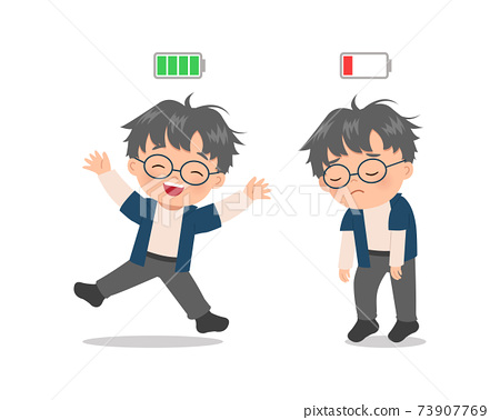 Cute boy express excited vs tired mood with battery indicator. Flat vector cartoon style 73907769