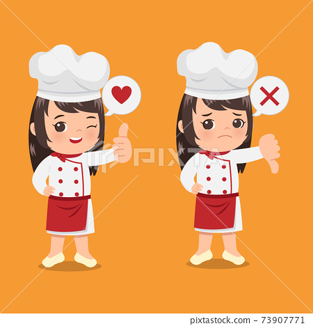 Cute girl chef showing gesture of thumb up and down as a sign of approval vs disapproval. Cartoon clip art flat vector design 73907771