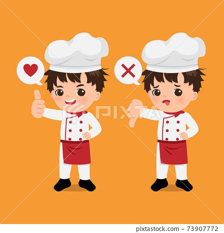 Cute chef boy showing thumb up gesture vs thumb down as sign of approval and disapproval. Cartoon design flat vector  73907772