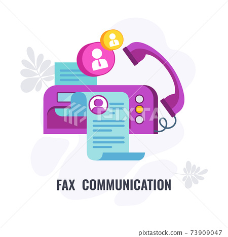 Fax communication infographic icon. Flat vector banner with icon. 73909047