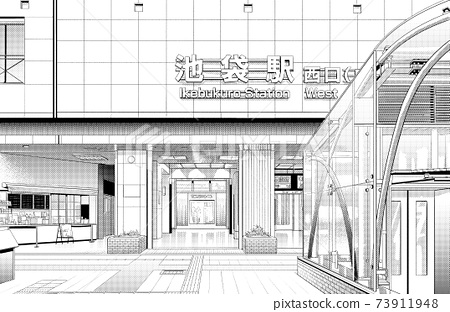 Manga style pen drawing illustration Downtown _ Cityscape 73911948