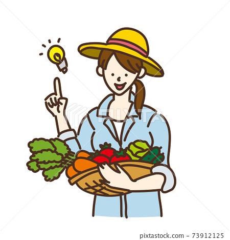 農業女孩農夫農業蔬菜插圖姿勢變化 73912125