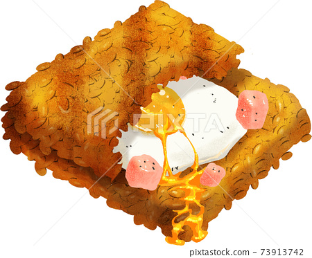 在熱三明治板上烤(豬肉雞蛋) 73913742