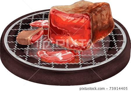육즙이 넘치는 덩어리 고기 불고기 73914405