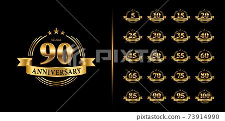Set of premium anniversary logotype. Golden anniversary celebration emblem design. 73914990
