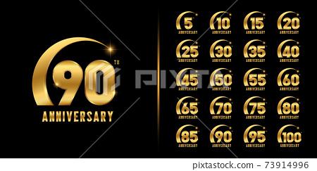 Set of premium anniversary logotype. Golden anniversary celebration emblem design. 73914996