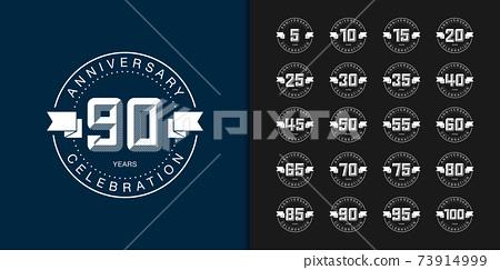 Set of trendy anniversary logotype. Premium anniversary celebration icons design. 73914999