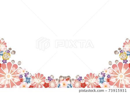 日式花圖框架粉紅色 73915931