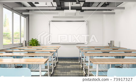 Empty classroom or presentation room interior with desks, chairs and whiteboard, 3d rendering 73917327
