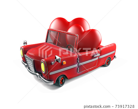 Couple of red hearts in cartoon sport car, Valentines Day Theme Concept, 3d rendering 73917328