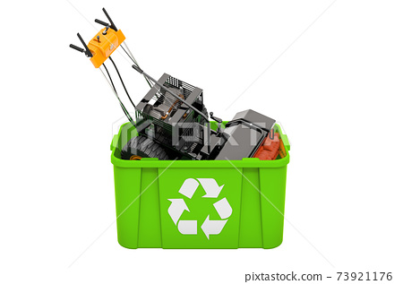 Recycling trashcan with Snow Sweeper Power Brush Broom Industrial, 3D rendering 73921176