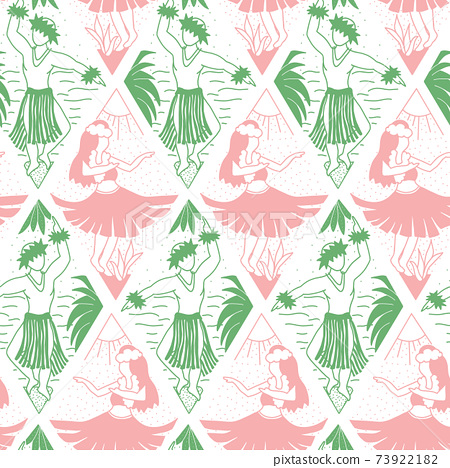 Seamless vector hawaii pattern. Summer background with dancing girls and men in geometric line art 73922182