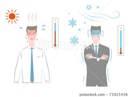 一套穿著舊西裝的男人看起來很熱,一個看起來冷的男人 73925436