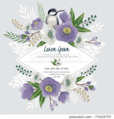 Vector illustration of a beautiful floral frame with a cute bird in spring for Wedding, anniversary, birthday and party. Design for banner, poster, card, invitation and scrapbook  73929755