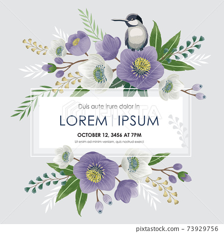 Vector illustration of a beautiful floral frame with a cute bird in spring for Wedding, anniversary, birthday and party. Design for banner, poster, card, invitation and scrapbook  73929756
