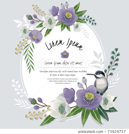 Vector illustration of a beautiful floral frame with a cute bird in spring for Wedding, anniversary, birthday and party. Design for banner, poster, card, invitation and scrapbook  73929757