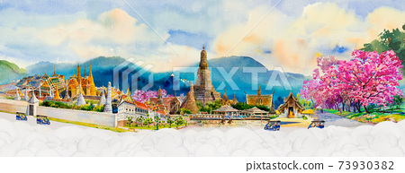 Panorama view famous landmarks in Thailand. 73930382