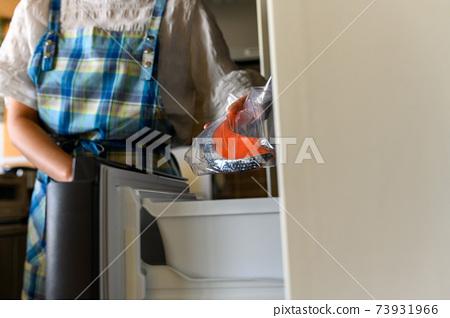 將三文魚放入冰箱的家庭主婦 73931966