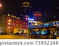 중국 대련시, 밤의 항만 광장 로터리 73932168