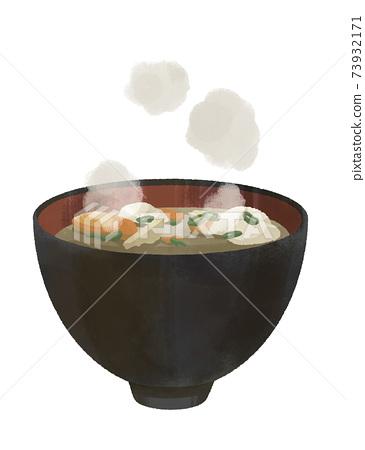 大醬湯湯日本食品真實插圖插圖食品 73932171