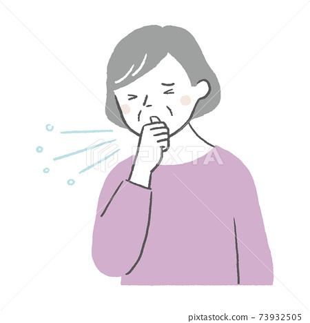 기침을하는 노인 여성 73932505
