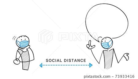 감염증 대책과 소셜 디스턴스 인물과 풍선 73933416