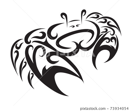 Line art vector logo of Fiddler crabs. It is sign of cancer zodiac.  73934054