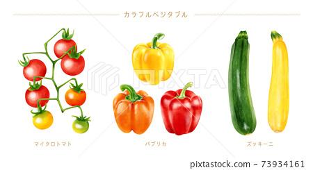 水彩插圖多彩蔬菜集 73934161