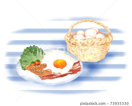 雞蛋和培根和一籃子雞蛋 73935330