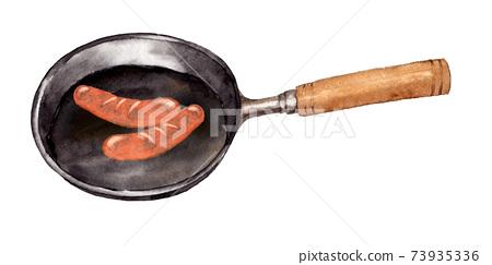 煎鍋中的維也納納 73935336