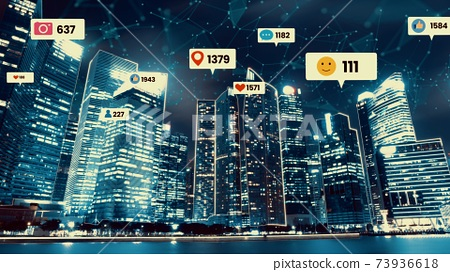 Social media icons fly over city downtown showing people engagement connection 73936618