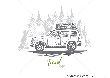 Travel, car, forest, trip, adventure concept. Hand drawn isolated vector. 73938266