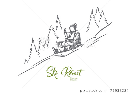 Sled, winter, mountains, activity, sport concept. Hand drawn isolated vector. 73938284