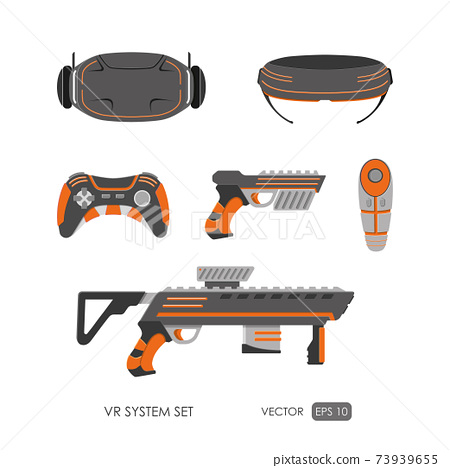 Guns for virtual reality system. Video game weapons set. Video game guns collection 73939655