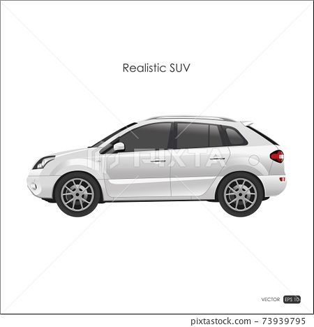Realistic model of SUV on white background. 73939795