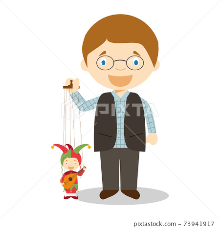 Pupperteer with typical puppet in Cezh Republic cartoon character. Vector Illustration. Kids of the World Collection. 73941917