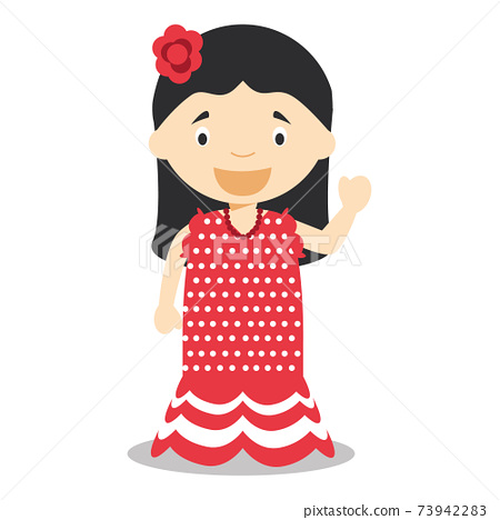 Character from Spain dressed in the traditional way as a flamenco dancer. Vector Illustration. Kids of the World Collection. 73942283