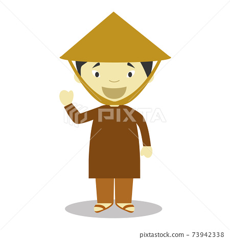Character from Vietnam dressed in the traditional way Vector Illustration. Kids of the World Collection. 73942338