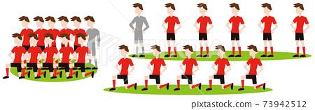 足球運動員在比賽開始前排隊 73942512