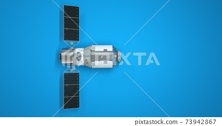 GPS satellite isolated on blue background, graphic design element. 3d illustration of an earth satellite, navigation. 73942867