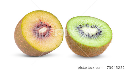 half red kiwi fruit on white background 73943222