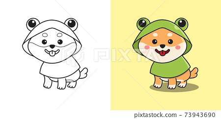 Cute shiba inu wearing frog costume raincoat. Children coloring page. Flat style cartoon vector design. 73943690