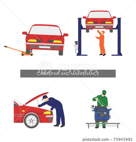 Repair and car maintenance. Vehicle repair workshop. Automobile service. Isolated images 73943992