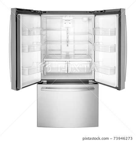 Open French Door Refrigerator Isolated on White Background. Front View of Steel Three Door Bottom Mount Fridge Freezer. Kitchen and Household Domestic Appliances. Full Frost Free 73946273