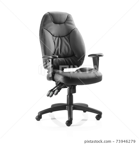 Conference Chair Isolated on White Background. Side View of Black Grain Leather Upholstery Sofa Set with Flat Seat and Arm Rests. Office Armchair with Rock It and Lock It Function 73946279