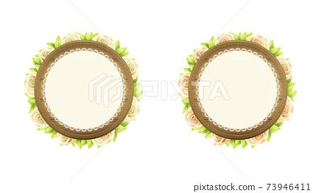 一套圓的木製框架和植物。帶花邊。 73946411
