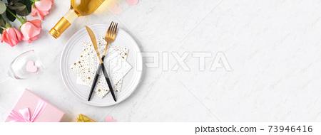 情人節 餐廳 盤子 頂視圖 粉色 緞帶 Valentine's Day Plate バレンタイン 73946416
