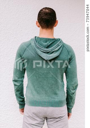 man wearing sweatshirt mockup back view 73947844